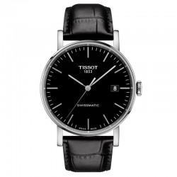 Reloj Tissot Everytime Swissmatic Negro Correa Piel Negra