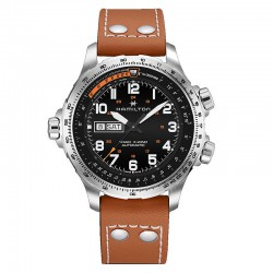 Reloj Hamilton Khaki Aviation X-Wind Day Date Auto Negro Piel Marrón