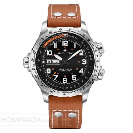 Reloj Hamilton Khaki Aviation X-Wind Day Date Auto Negro Piel Marrón