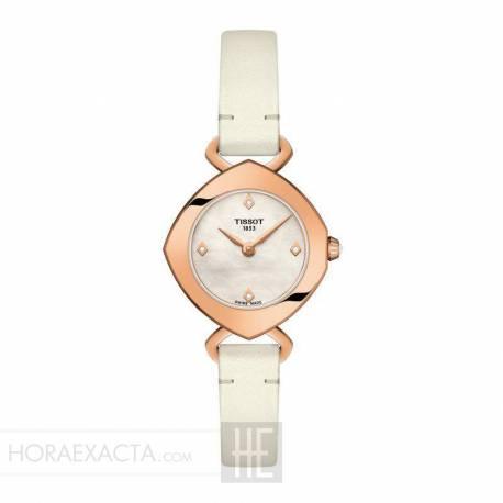 Reloj Tissot Femini-T Diamantes Nacar Blanco PVD Oro Rosa Piel Blanca