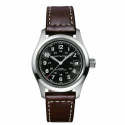 Reloj Hamilton Khaki Field 38 Auto Negro Piel Marrón