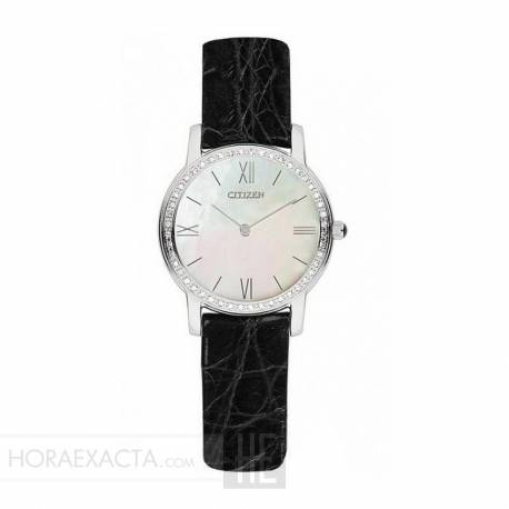 Reloj Citizen Eco Drive Lady Nacar Diamantes en Bisel Piel Negra/ Granate/ Blanca 28 mm
