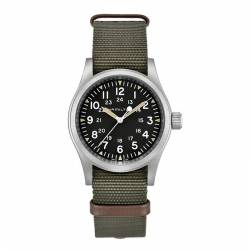 Reloj Hamilton Khaki Field Mechanical Negro Nato Verde Marrón 38 mm