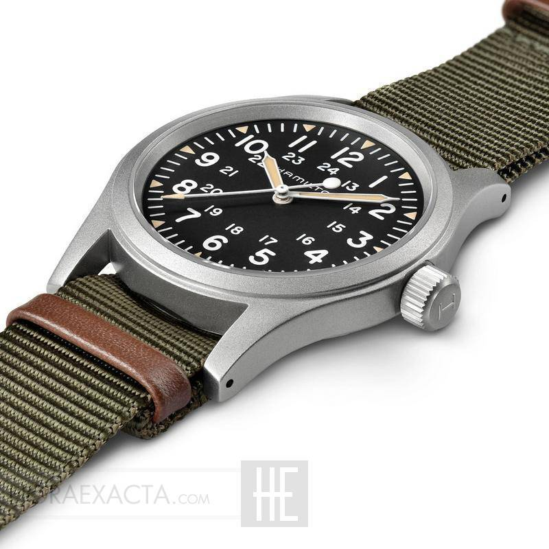 8fbccee9cdc8 ... Reloj Hamilton Khaki Field Mechanical Negro Nato Verde Marrón 38 mm ...