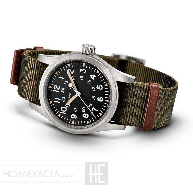 5e2dceb3c0ce ... Reloj Hamilton Khaki Field Mechanical Negro Nato Verde Marrón 38 mm