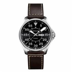 Reloj Hamilton Khaki Aviation Pilot Quartz Negro Piel Marrón 42 mm