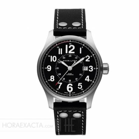 Reloj Hamilton Khaki Field Officer Auto Negro Piel Negra 44 mm