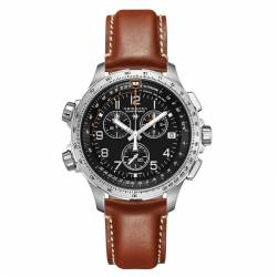 Reloj Hamilton Khaki Aviation X-Wind Cuarzo Chrono GMT Negro Piel Marrón 46 mm.