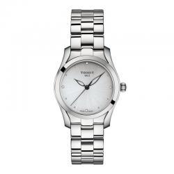 Reloj Tissot T-Wave Cuarzo Lady Gris Plata Diamantes Armis 30 mm