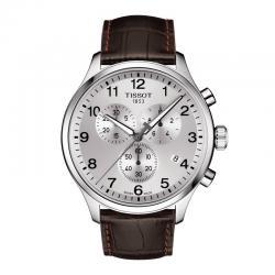 Reloj Tissot Chrono XL Classic Gris Plata Piel Marrón 45 mm.