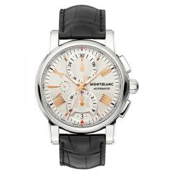 Reloj Montblanc Star 4810 Crono Automatic Beige Plata Piel Negra 44 mm. OUTLET *