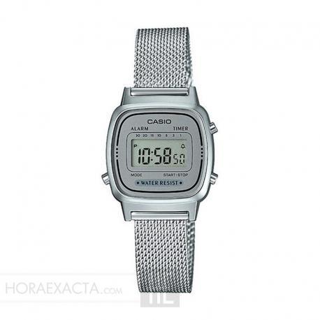 Reloj Casio Collection Digital Pequeño Milanesa Gris LA670WEM-7EF