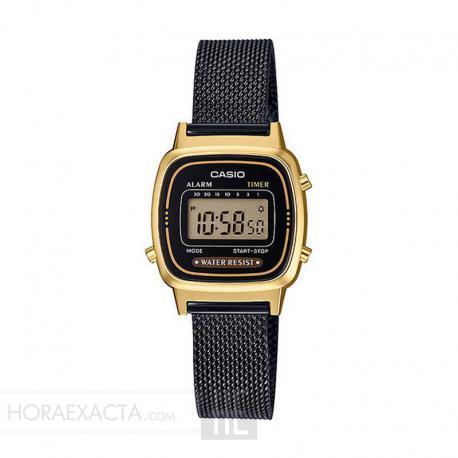 d71c8e8daaa6 Reloj Casio Collection Digital Pequeño Milanesa Negro Dorado LA670WEMB-1EF