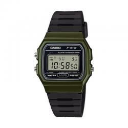 Reloj Casio Collection Digital Khaki Resina Negra F-91WM-3AEF