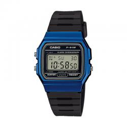 Reloj Casio Collection Digital Azul Resina Negra F-91WM-2AEF