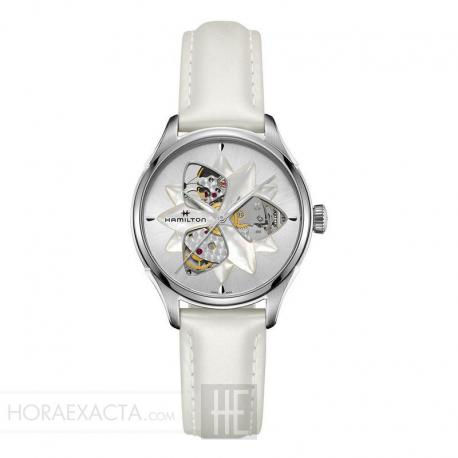 Reloj Hamilton Jazzmaster Open Heart Lady Auto Mother of Pearl Piel Blanco 34 mm