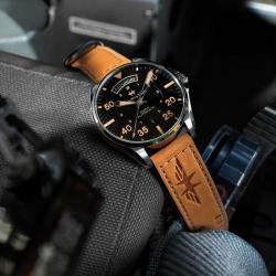 Reloj Hamilton Khaki Pilot Auto Negro Piel Marrón 42 mm
