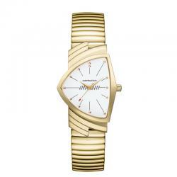 Reloj Hamilton Ventura Cuarzo PVD Oro amarillo Negro Armis Elástico