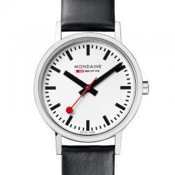 Reloj Mondaine SBB Classic Lady Blanco Piel Negra Rojo 30 mm