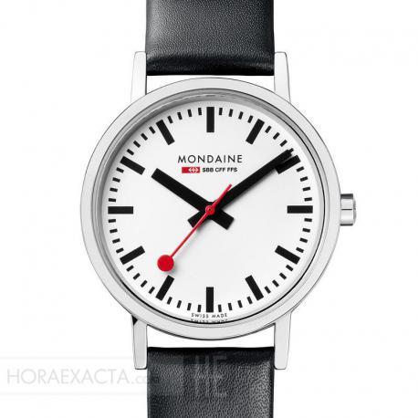 413c685dfd07 Reloj Mondaine SBB Classic Lady Blanco Piel Negra Rojo 30 mm. Oferta