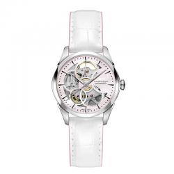 Reloj Hamilton Jazzmaster Skeleton Lady Auto Mother of Pearl Rosa Piel Blanca y Rosa 36 mm