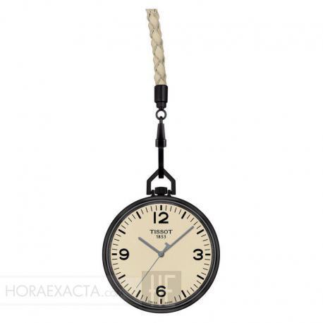 Reloj Tissot Bolsillo Lepine Cuarzo Aluminio PVD Negro Esfera Crema + Piel