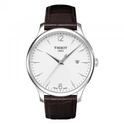 Reloj Tissot Tradition Gent Blanco Cuarzo Piel Marrón 42 mm.