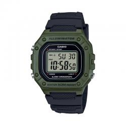 Reloj Casio Collection Digital Verde Resina Negra W-218H-3AVEF