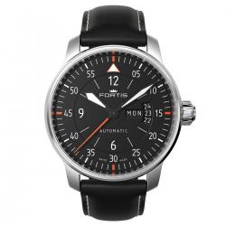 Reloj Fortis Fortis Flieger Cockpit Day Date Negro Piel 41 mm.