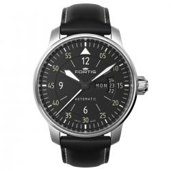 Reloj Fortis Fortis Flieger Cockpit Day Date Negro Blanco Piel 41 mm. 704.21.18