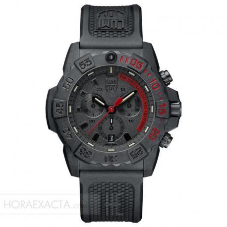 Reloj Luminox Navy Seal Negro Crono Caucho 45 mm.