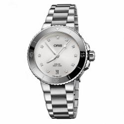 Reloj Oris Aquis Date Diamonds Lady Blanca Armis Bisel Tungsteno
