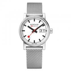 Reloj Mondaine Evo Big Data Blanco Milanesa 30 mm.