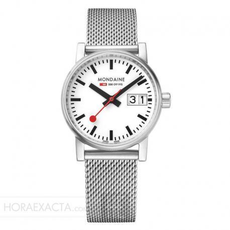 Reloj Mondaine Evo Big Data Blanco Milanesa 30 mm.
