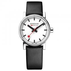 Reloj Mondaine SBB Evo Blanco Acero Cristal de Zafiro Piel Negra 30 mm.