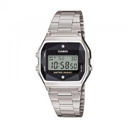 Reloj Casio Collection Digital Armis Acero Negro Diamantes A158WEAD-1EF