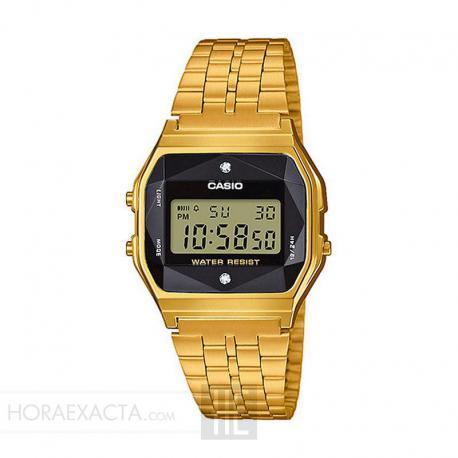 93b150ae0cd0 Reloj Casio Collection Digital Armis Dorado Negro Diamantes A159WGED-1EF
