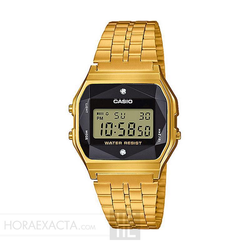 df59ea16ade2 Reloj Casio Collection Digital Armis Dorado Negro Diamantes A159WGED-1EF