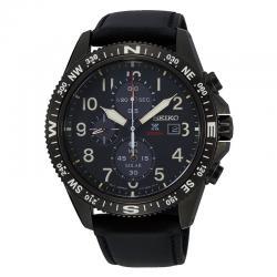 Reloj Seiko Prospex Tierra Solar Crono PVD Negro Azul Piel Negra SSC707P1