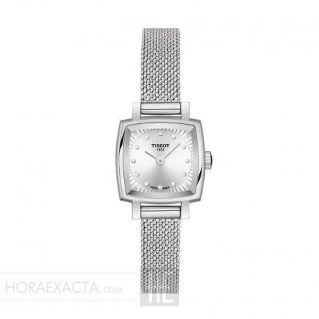 Reloj Tissot Lovely Square Diamantes Acero Milanesa