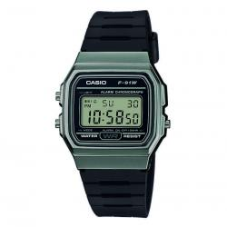 Reloj Casio Collection Digital Khaki Resina Negra F-91WM-1BEF