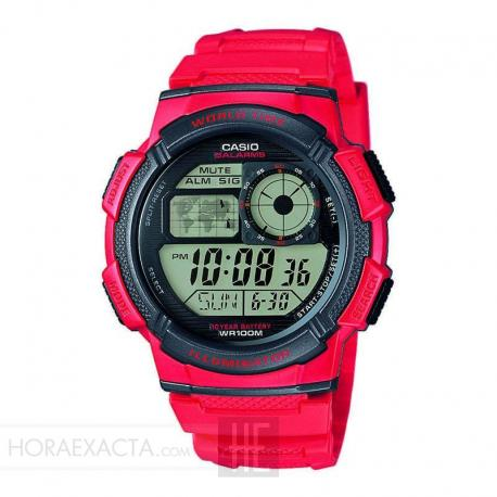 Reloj Casio Collection Digital Rojo /Negro Resina AE-1000W-4AVEF