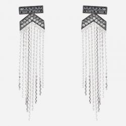 Joyería Karl Lagerfeld. Pendientes Doble K Flecos Cristales Swarovski® Negros y Blancos