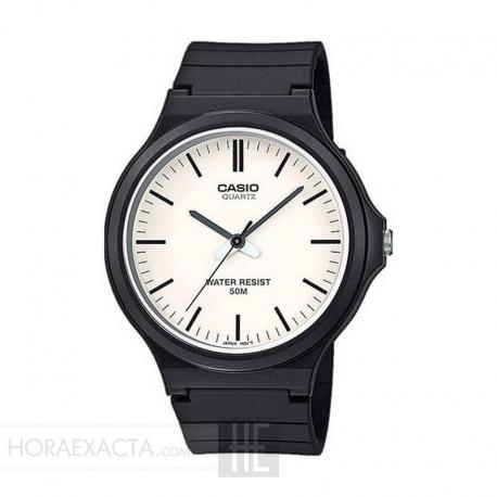 Reloj Casio Collection Analógico Blanco Resina Negra 44 mm. MW-240-7EVEF
