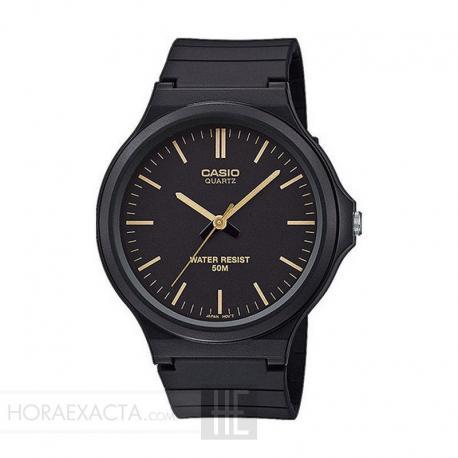 Reloj Casio Collection Analógico Negro Dorado Resina Negra 44 mm. MW-240-1E2VEF