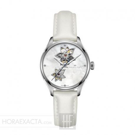 Reloj Hamilton Jazzmaster Open Heart Lady Auto Nacar Diamantes Piel Blanco 34 mm H32115892