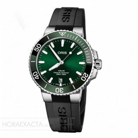 Reloj Oris Aquis Date Verde Caucho 39 mm. 01 733 7732 4157