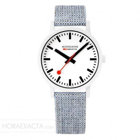 Reloj Mondaine SBB Essence White Caja Resina Correa Lona / Cork Lining 41 mm.