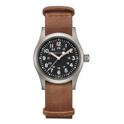 Reloj Hamilton Khaki Field Mechanical negro piel marrón 38 mm