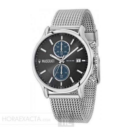 Reloj Maserati Epoca Cuarzo Chrono Grís / Azul Índices Acero Milanesa 43 mm.